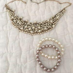 Glass Pearl Cluster Bib Necklace & Bracelet Set